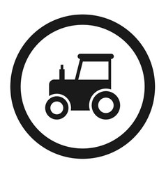 no tractor prohibition sign line icon vector image