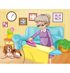 Old woman ironing clothes in a room vector