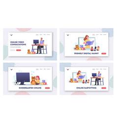 Online babysitting landing page template set vector