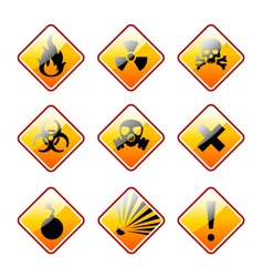 Orange warning signs vector image