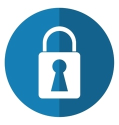 Padlock lock secure digital shadow blue circle vector