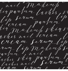 Pattern with handwritten words about beauty vector