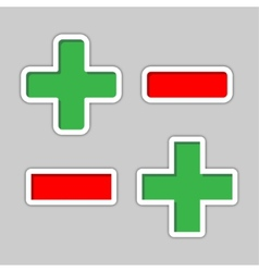 plus and minus in green and red colour vector image