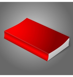 Realistic bright red blank softcover book Isolated vector image