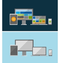 Responsive ui flat design concept vector