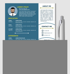 resume cv template and realistic pen vector image