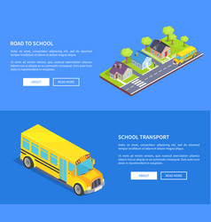 road to school through cottage town and yellow bus vector image