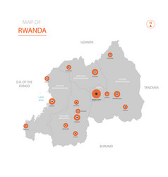 rwanda map with administrative divisions vector image