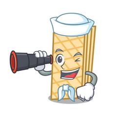 Sailor with binocular waffle mascot cartoon style vector