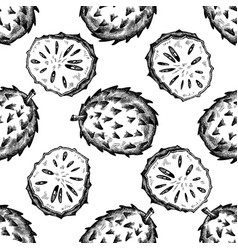 seamless pattern with black and white soursop vector image