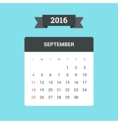 September 2016 Calendar vector image