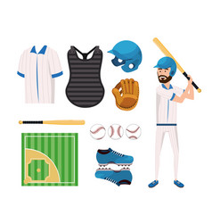 Set baseball uniform and professional player vector