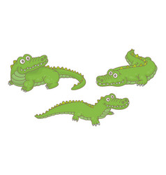 set crocodiles vector image