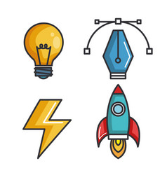 set icons creative idea strategy collection vector image