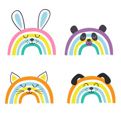 Set isolated cute baby animals rainbows part 1 vector