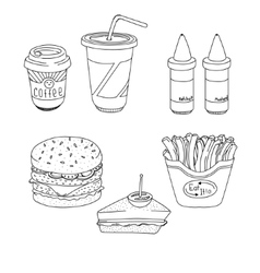 Set of cartoon fast-food meal lineart vector