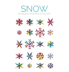 Set of Christmas snowflake icons vector
