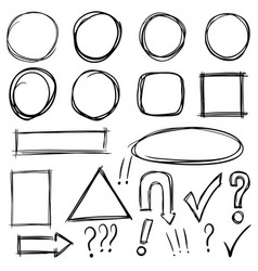 Set of hand drawn arrows signs squares circles vector