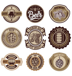 Set of vintage beer labels design elements for vector