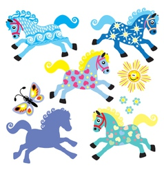 Set with cartoon decorative horses vector