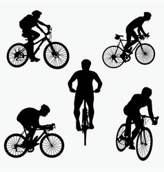 silhouettes of mountain bike vector image