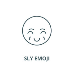 Sly emoji line icon linear concept vector