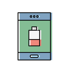 Smartphone with battery power low vector