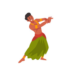 Smiling young indian man performing folk dance in vector