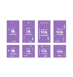 Social media templates 1k 5k 10k 100k vector