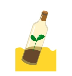 Sprout in the bottle drought ecology vector image vector image