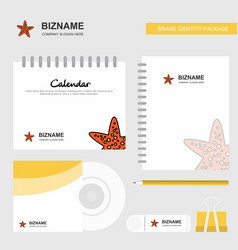 star fish logo calendar template cd cover diary vector image