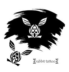Stylized decorative rabbit mask Tattoo silhouette vector image
