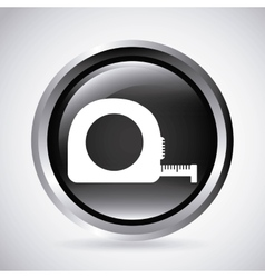 Tape measure in silver button isolated icon vector