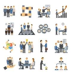 Teamwork icons set group symbol communication vector