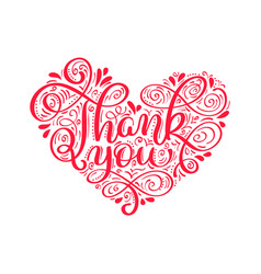 Texts thank you in the shape of a heart hand vector