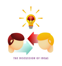 the discussion of ideas light bulb with brain vector image