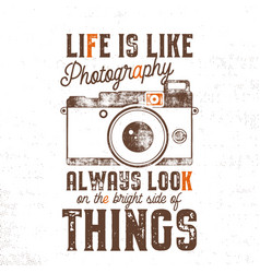 typography poster with old style camera and quote vector image