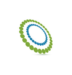 unusual double ring of small circles logo vector image