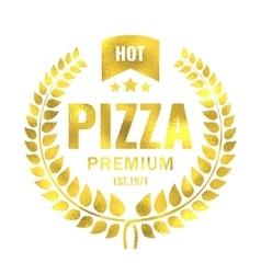 Vintage pizza gold logo stamp vector image