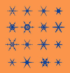 vintage snowflake set 16 original snow vector image