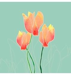 Watercolor cyclamen vector