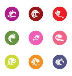 Wavelength icons set flat style vector