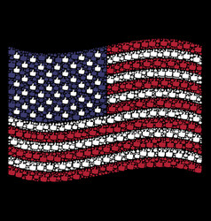 waving american flag stylization of thumb up icons vector image