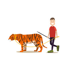 Wild animal tamer male with his tiger flat vector