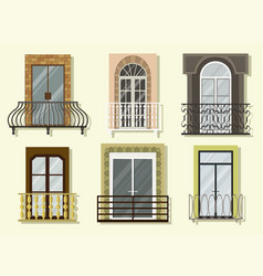 window forms icons set balcony vector image