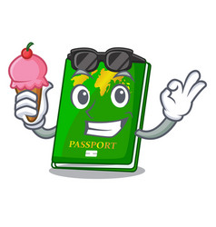 With ice cream green passport in the cartoon shape vector