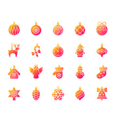 xmas tree decor simple gradient icons set vector image