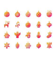 Xmas tree decor simple gradient icons set vector