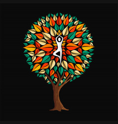 Yoga concept with woman in tree pose vector