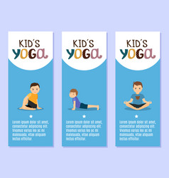 Yoga kids flyers design with boys vector